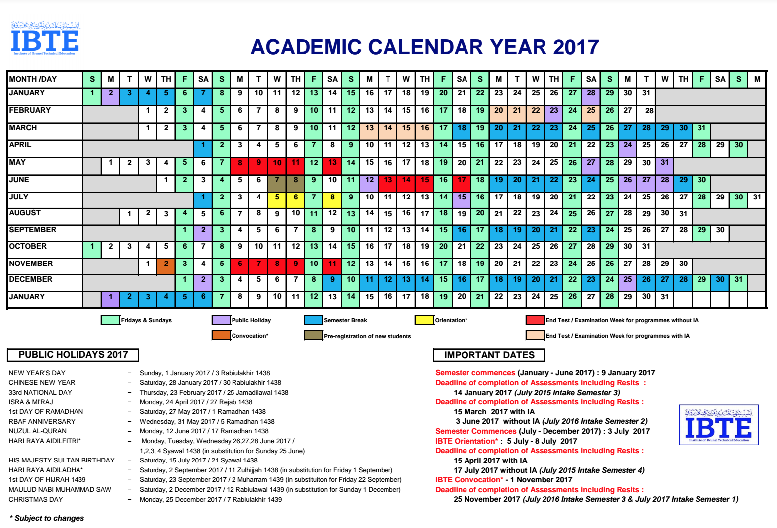 School Calendar 2018 Brunei : Ibte institute of brunei technical education inspiring