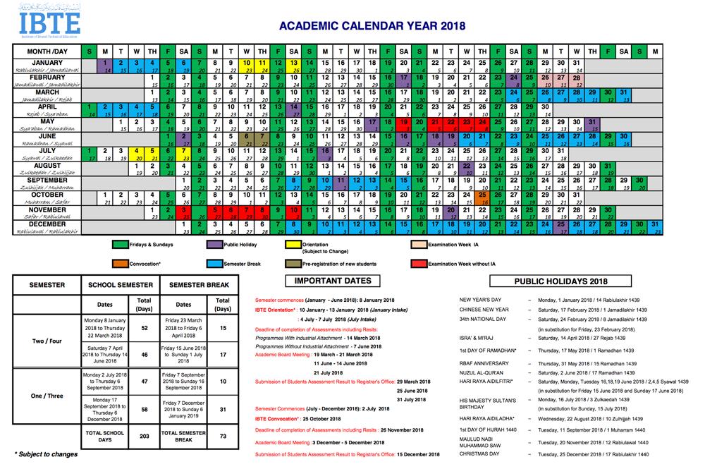 academic calendar year 2019